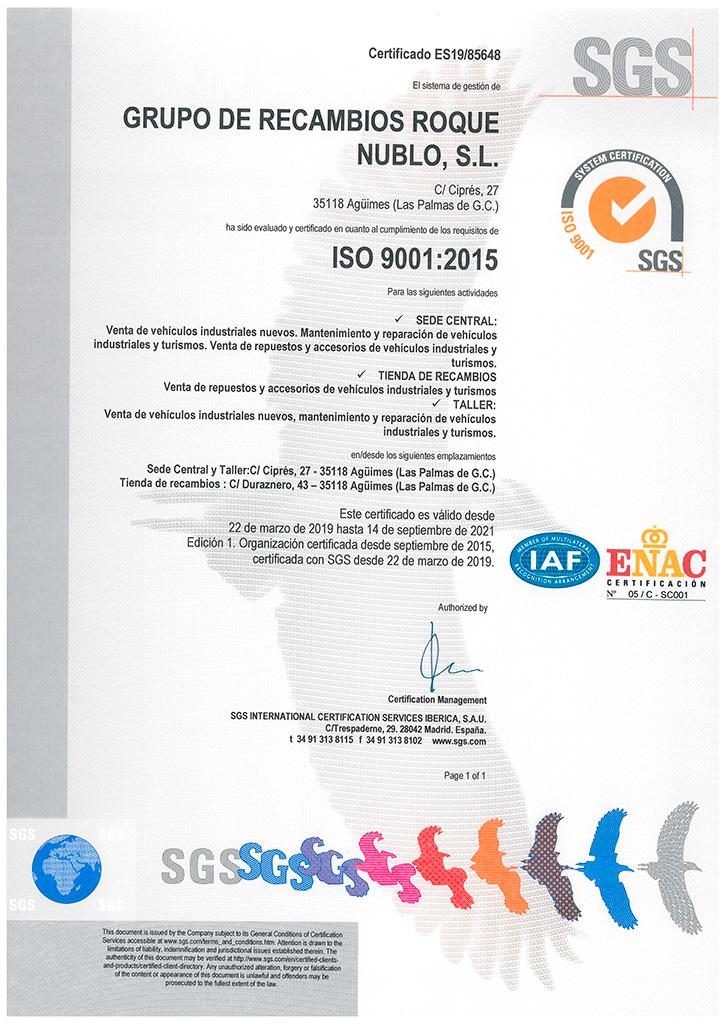 Certificado SGC ISO:9001